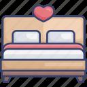 bed, bedroom, furnishing, furniture, heart, honeymoon