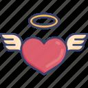 angel, halo, heart, love, romance, romantic, wing icon