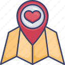 heart, location, map, navigation, pin, pointer, venue icon