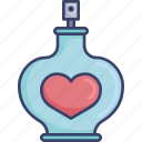 bottle, fragrance, heart, perfume, romance, smell icon