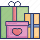 box, event, gift, heart, occasion, package, present icon