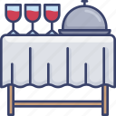 beverage, cloth, drink, food, glasses, service, table icon