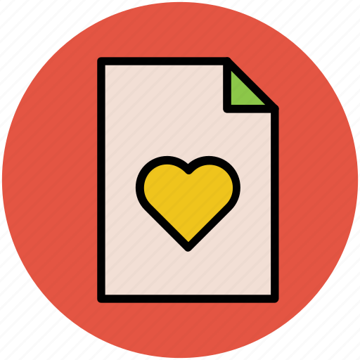 documents, file, heart file, love, loving file, romance icon