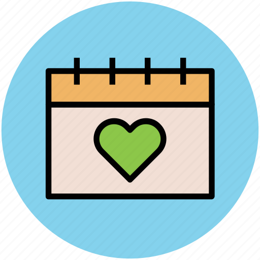 calendar, calendar with heart, date, day, event, wedding day icon