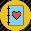heart, love, love book, love diary, notebook, romance icon