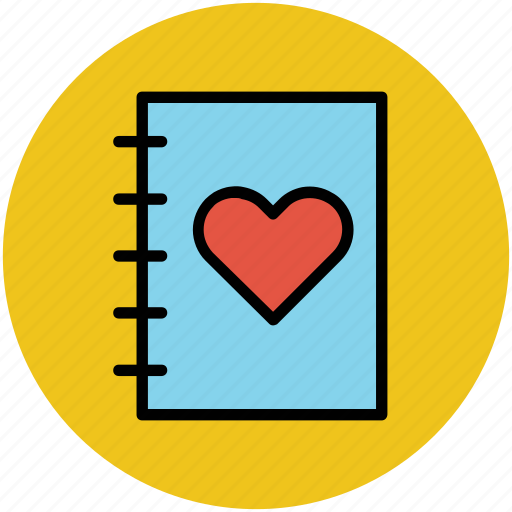 heart, love, love book, love diary, notebook, romance icon