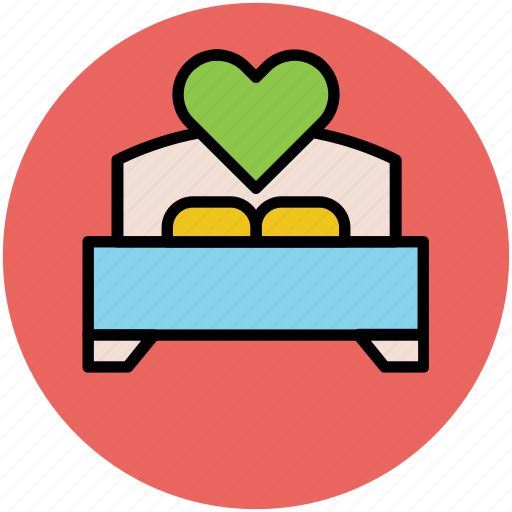 bed, bedroom, hotel room, wedding bed, wedding decoration icon