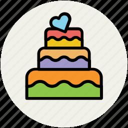 anniversary cake, cake, dessert, party cake, wedding cake icon