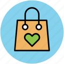 bag, hand bag, heart on bag, love shopping, tote bag, valentine shopping icon