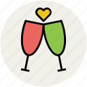 champagne toasting, cheers, drink, glass, toast glass, toasting glasses icon