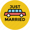 automobile, bride and groom car, carriage, vehicle, wedding car icon