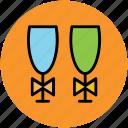celebration, drink, glass, glass with ribbon, wedding drink, wine icon