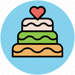 cake, cake with hearts, dessert, party cake, wedding cake icon
