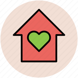 heart with home, home, house, hut, loving home icon