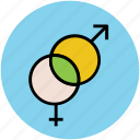 couple, female sign, gender symbols, male sign, sex symbols icon
