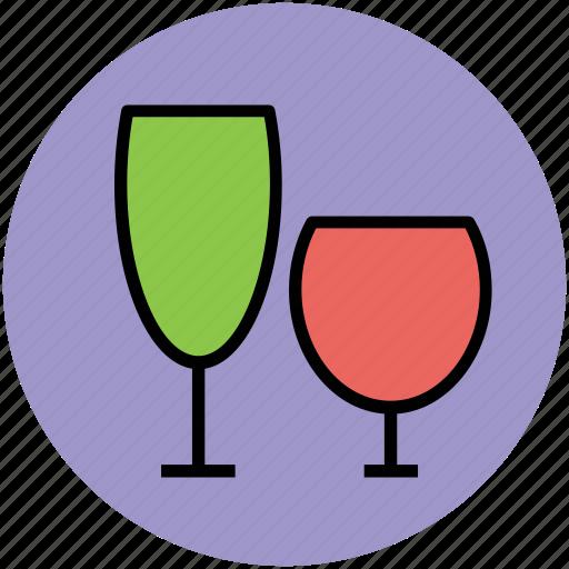 alcohol, beverage, celebration, drink, glasses, wine glasses icon
