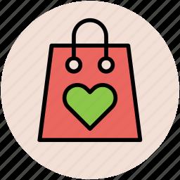 bag, hand bag, heart on bag, love shopping, tote bag, valentine shopping icon