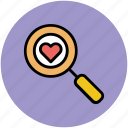 finding love, heart, heart search, love search, magnifier icon