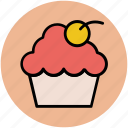 bakery food, cherry muffin, cupcake, fairy cake, muffin icon