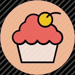 bakery food, cherry muffin, cupcake, fairy cake, muffin icon