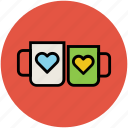 heart, love, mug, tea, tea mug, two cups icon