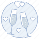 champagne, glasses, toast, wedding icon