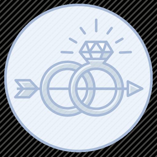 arrow, diamond, engagement, marriage, ring, wedding icon
