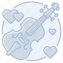 cello, hearts, marriage, music, violin, wedding icon