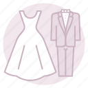bride, couple, gown, groom, marriage, tuxedo, wedding icon