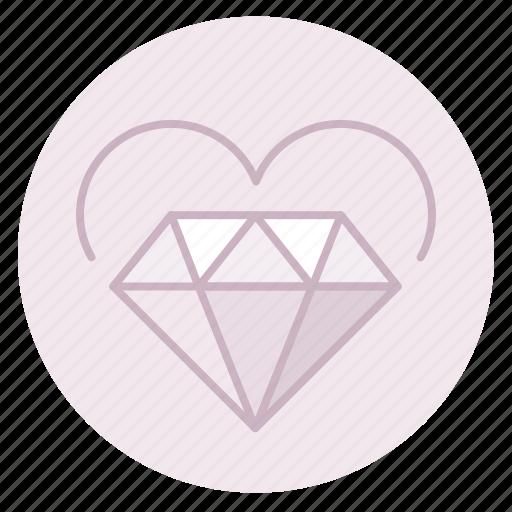 diamond, engagement, heart, love, marriage, wedding icon