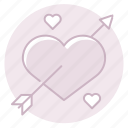 arrow, cupid, heart, love, marriage, valentine, wedding icon