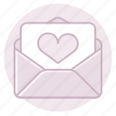 heart, invitation, letter, love, marriage, wedding icon