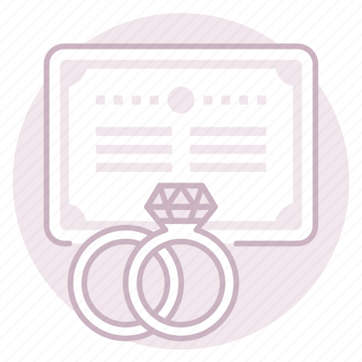 license, marriage, rings, wedding icon