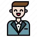 avatar, elegant, groom, man, people, user, wedding icon