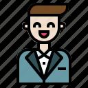 avatar, elegant, groom, man, people, user, wedding icon