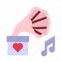 gramaphone, love, married, romance, wedding icon
