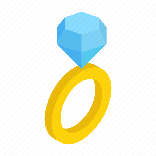 Crystal, diamond, engagement, isometric, jewelry, ring, wedding icon - Download on Iconfinder