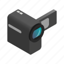 camera, digital, isometric, media, perspective, technology, video icon