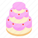 birthday, cake, decoration, greeting, isometric, sweet, wedding icon