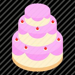 birthday, cake, decoration, greeting, isometric, sweet, wedding icon