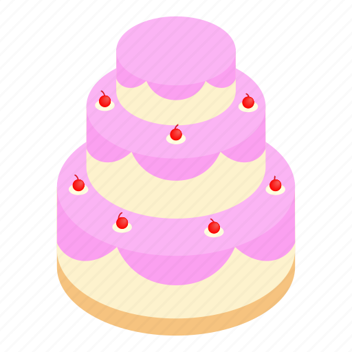 Birthday, cake, decoration, greeting, isometric, sweet, wedding icon - Download on Iconfinder