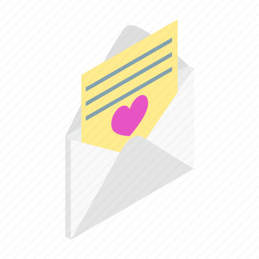 envelope, heart, isometric, letter, love, mail, stamp icon