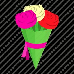 bouquet, flowers, isometric, love, nature, ribbon, wedding icon