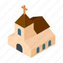 building, chapel, christian, church, cute, isometric, wedding icon