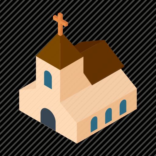 building, chapel, christian, church, cute, isometric, wedding icon