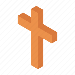 catholic, christian, cross, crucifix, faith, isometric, religion icon