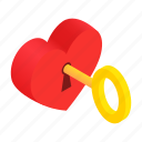 heart, isometric, love, lock, valentine, romance, key