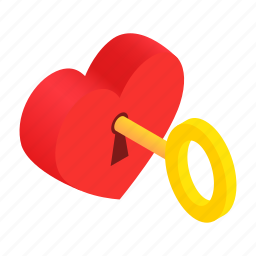heart, isometric, key, lock, love, romance, valentine icon