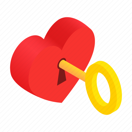 heart, isometric, key, lock, love, romance, valentine icon