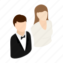 isometric, groom, bride, avatar, female, newlywed, celebration